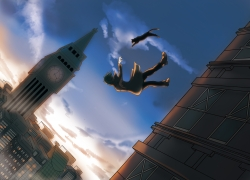 Guys, Boy, Jacket, Cats, Falling, Clock Tower, Sky, Clouds, Buildings