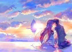 Sword Art Online, Couple, Sunset