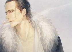 One Piece, Crocodile, Mr. 0, Fur Neck Coat, Smoking, Cigarette, Neck Length Hair, Black Hair, Scars, One Eye Showing