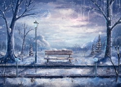 Bench, Winter, Frozen
