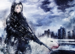 Guns, Weapon, Girl, Winter