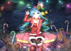 Vocaloid, Hatsune Miku, Bai Yemeng, Christmas, Bells, Boots, Hat, Long Hair, Christmas Outfit, Skirt, Thigh Highs, Twin Tails