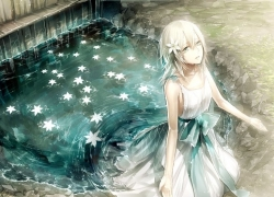 Silver hair, White hair, Water, White Dress