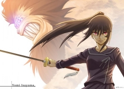 Ga-Rei:Zero, Long Hair, Isayama Yomi, Sword, Uniform, Black Hair