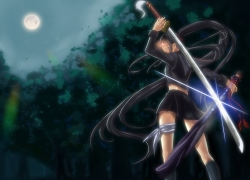 Isayama Yomi, Black Hair, Long Hair, Ga-Rei:Zero, Uniform, Sword, Night, Forest, Full Moon