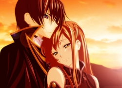 LOVE, Lelouch Lamperouge, Shirley Fenette, Code Geass: Lelouch of the Rebellion, Sunset