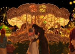Fairy Tail, Gajeel Redfox, Levy McGarden, Kissing, Carousel, Amusement Park