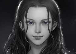 One Piece, Nico Robin, Realistic, Blue Eyes, Black And White