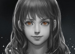 One Piece, Nami, Realistic, Orange Eyes, Black And White