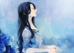 Scenery, Wallpaper, Girl, Rain