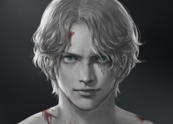 One Piece, Sabo, Realistic, Blue Eyes, Black And White