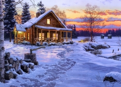 Scenery, Wallpaper, House, Snow, Morning