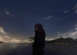 Sea, Clouds, Stars, Camera, Scarf, Lights, Scenery