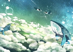 Scenery, Cloud, Girl, Fish, Sky, Wallpaper, Whale, Couple, Floating