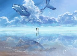 Scenery, Wallpaper, Clouds, Sky, Couple, Girl, Boy, Whale, Floating