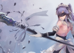 Anime girl, Purple Hair, Blindfold, Spear