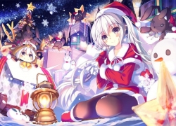 Christmas Outfit, Christmas, Christmas Hat, Christmas Tree, Girl, Female, White hair, Snowman, Snow, Snowflakes, Stuffed Rabbit, Winter, Candle, Candles, Purple Eyes, Twin Tails, Hair Ribbon, Smiling, Blush, Night, Sitting, One Girl, Solo