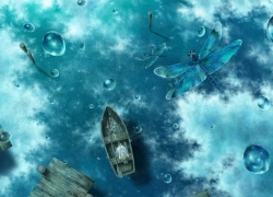 Boat, Water, Water Droplets, Dragonfly, Reflection, Sky, Clouds
