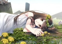Girl, Female, Flowers, Flower, Laying Down, Solo, Brown Hair, Brown Eyes, Open Mouth, Looking At Camera, Looking At The Camera, Dress, White Dress, Yellow Flowers, Yellow Flower, Blue Flower, Day, Lying Down, Purple Flower