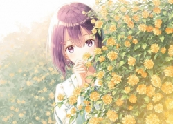 Flower, Garden, Brown Hair, Short Hair