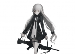 Girls With Guns, Twin Tails, White hair, Weapon, unknown