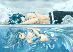 Fairy Tail, Juvia Lockser, Juvia Loxar, Gray Fullbuster, Blue Background, Water