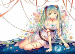 Vocaloid, Hatsune Miku, Long Hair, Twin Tails, Skirt, Bare Shoulders, Girl, Female, Solo, White Background, Ribbons, Hair Ornament, Bracelet, Earrings, Jewelery, Sitting, Smiling, Shoes, Looking At Camera, Looking At The Camera, Hair Flower, Green Hair