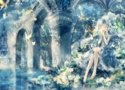 Water, Girl, White hair, Ruins, Night, Moon, White Rose, White Flower, Butterflies, Chains, White Dress, Loli