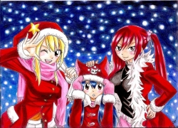 Fairy Tail, Erza Scarlet, Wendy Marvell, Lucy Heartfilia, Christmas