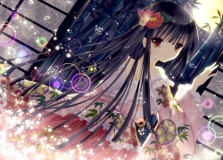 Moon, Female, Girl, Solo, One Girl, Flowers, Brown Eyes, Long Sleeves, Long Hair, Black Hair, Night, Dark, Hair Flower, Full Moon