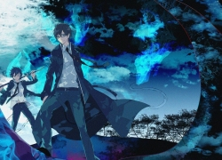 Ao no Exorcist, Yukio Okumura, Rin Okumura, Blue Flames, Blue Background