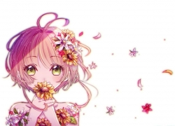 Cardcaptor Sakura, Sakura Kinomoto, Short Hair, Girl, Female, Solo, White Background, Flowers, Hair Flower, Green Eyes, Brown Hair, One Girl, Pink Flower Petal, Pink Flower Petals, Red Flower, Yellow Flower
