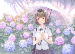 School Uniform, Wallpaper, Umbrella