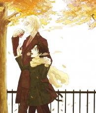 Ayanami, Studio Deen, Teito Klein, Autumn, Autumn Leaves, Coat, Duo, Gate, Green Eyes, Hold, Holding Hands, Leaves, Male, Red Eyes, Scarf, Short Hair, Side View, Suit, Tie, Tree, Two Males, Walking, White hair, Winter Outfit, 07 Ghost