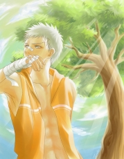 Ryōhei Sasagawa, Male, Solo, Bandages, Clouds, Open Shirt, Sunbeam, Tree, White hair, Short Hair, Katekyo Hitman Reborn!