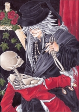 Flower, Square Enix, Undertaker, Yana Toboso, Black Outfit, Candle, Facial Mark, Gothic, Grin, Hat, Jewelry, Long Nails, Male, Ring, Rose, Skeleton, Skull, Solo, White hair, Kuroshitsuji