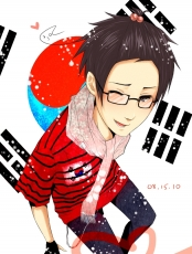 Axis Powers: Hetalia, Smile, South Korea, Ahoge, Flag, Glasses, Hair Clip, Male, Open Mouth, Personification, Scarf, Short Hair, Silver Eyes, Solo, Wink, Asian Countries