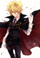 Vongola Primo Giotto, Gloves, Pinstripe Suit, Blonde Hair, Cape, Solo, Spiky Hair, Suit, Tie, Vongola Family, Katekyo Hitman Reborn!
