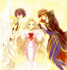 Suzaku Kururugi, Smile, Closed Eyes, Gloves, Wings, Lelouch Lamperouge, Nunnally Lamperouge, Angel, Blue Eyes, Cape, Dress, Female, Holding Hands, Male, Pink Dress, Pink Outfit, Short Hair, Siblings, Trio, Code Geass: Lelouch of the Rebellion, Sunrise Studio