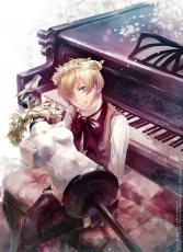 Axis Powers: Hetalia, Smile, Alois Trancy, Animal, Bird, Blonde Hair, Male, Musical Instrument, Piano, Short Hair, Solo, Flower Crown, Blue Eyes