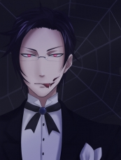 Square Enix, Demon Eyes, Claude Faustus, Blood, Tongue, Butler, Demon, Red Eyes, Glasses, Licking, Male, Serious, Short Hair, Solo, Spider Web, Suit, Black Outfit, Bow Tie, Kuroshitsuji