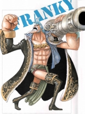 Franky, Blue Hair, Boots, Cannon, Coat, Male, Muscles, Open Shirt, Solo, Straw Hat Pirates, Sunglasses, One Piece