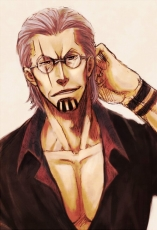 Scar, Silvers Rayleigh, Male, Glasses, Solo, Gray Hair, Short Hair, Open Shirt, Hand Behind Head, One Piece