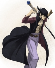 Dracule Mihawk, Shichibukai, Sword, Weapons, Hat, Beard, Male, Solo, Open Shirt, Muscles, One Piece