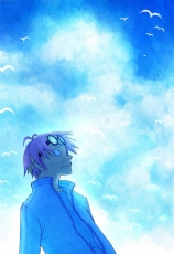 Coby, Glasses, Male, Short Hair, Marine, Sky, Clouds, Bird, Animal, Purple Hair, Solo, One Piece