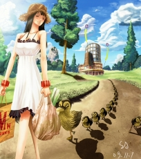 Smile, Closed Eyes, Duckies, Eiichiro Oda, Nico Robin, Female, Solo, Bag, Dress, Hat, Jewelry, Short Hair, Sky, Straw Hat, Tree, White Dress, White Outfit, Straw Hat Pirates, Bracelet, One Piece