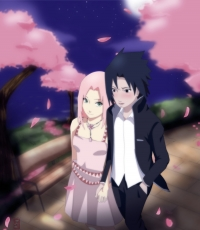 Flower, Sasuke Uchiha, Sakura Haruno, Pink Hair, Short Hair, Spiky Hair, Green Eyes, Black Eyes, Suit, Male, Female, Duo, Couple, Blush, Dress, Pink Dress, Naruto, Cherry Blossom
