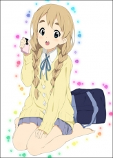 Tsumugi Kotobuki, Smile, School Uniform, Bag, Blonde Hair, Female, Solo, Blue Eyes, Braids, Cellphone, Phone, Skirt, Tie, Twin Tails, Uniform, Thigh Highs, Sitting, Open Mouth, kakifly, K-ON!