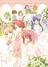 Furfur, Furudo Erika, Maebara Keiichi, Ryuuguu Rena, Sonozaki Mion, Ushiromiya Ange, Ushiromiya Battler, Zepar, 07th Expansion, Béatrice, Blonde Hair, Cross-over, Dress, Female, Green Hair, Group, Male, Red Hair, Wedding, Wedding Dress, White Dress, Umineko no Naku Koro ni