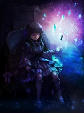 Frederica Bernkastel, 07th Expansion, Female, Glowing Eyes, Solo, Purple Eyes, Night, Sitting, Umineko no Naku Koro ni